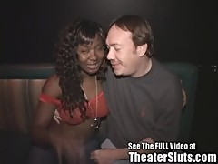 Hot Busty Black Girl Getting Covered In Strangers Cum In A Public Porn Theater!