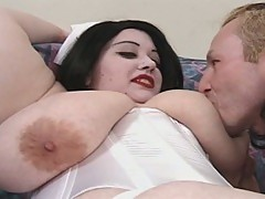 Big fat tattooed nurse plays with her patients