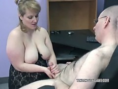 Plump Rebecca in black lingerie and sucking cock
