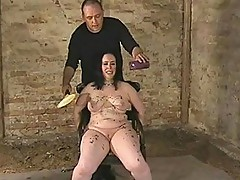 Chubby slut in electro pain and candles