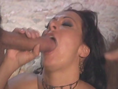 Sandra Romain fucks 2 giant cocks