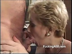 Horny blonde granny blows a cock and moans when rides it