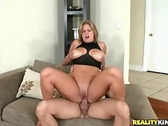 Chubby blonde gets her tits oiled then rides thick shaft