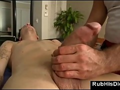 Gay sucks dick during massage