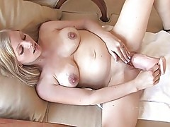 Leah naughty pregnant blonde girl toying pussy with a huge d...