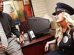 Busty blonde cop gets her hands on stiff black leutennant