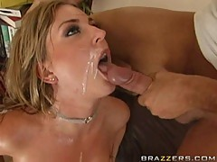 Avy Scott gets a thick load of cum shot into her mouth