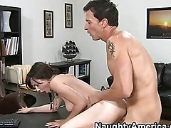 Brunette with the braids getting fucked doggy style in the o...