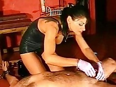 Slave gets handjob by mistress and gets his cock elektroshoc