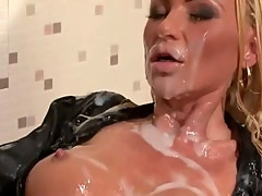 Bukkake soaked tramp gets wam