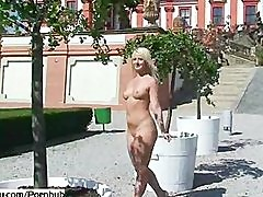 Crazy blonde babes naked on public streets