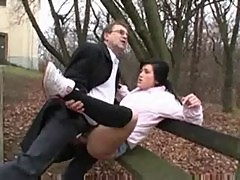 Flasher fucks young girl in public park