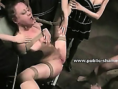 Pool bar clients force slut to suck them in brutal public group sex in humiliating video