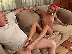Blonde whore thirsts for creamy jizz from her feet