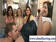 Cfnm naked guy performs oral on host
