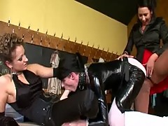 Dominatrixes ruling over a worthless sissy