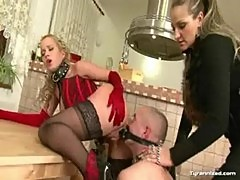 Mistress makes male slave fuck slavegirl with strapon