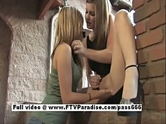 Awesome girls Leslie and Danielle lesbian girls licking pussies
