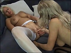 Hot lesbian blond cums on a fist