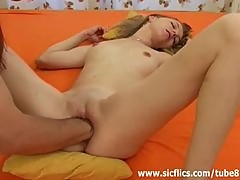 Young blond slut fist fucked in her ruined vagina