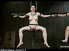 Restrained babes machine fucked