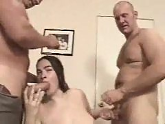 Guys gangbang a babe and jizz her