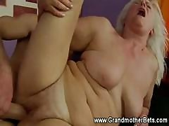 Blonde Granny Rides A Hard Cock