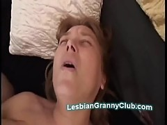 Busty mature lesbian uses big toy to fuck horny experienced Gf