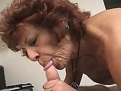 Granny excitedly sucks on man meat
