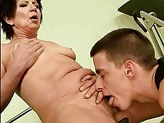 Granny getting fucked in the gym