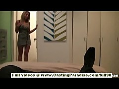 Natalie Vegas stunning busty blonde girl with high heels doing blowjob