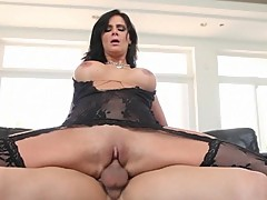 Phoenix Marie bounces her moist pussy on a huge prick