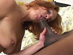 Huge black cock for one horny cum eating brunette milf