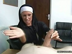 Angry Nun Punishes Cock