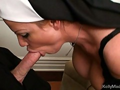 Naughty nun Kelly Madison sucks and fucks stiff prick