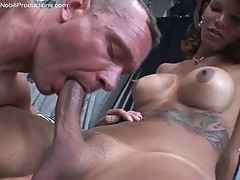 Hot stud getting ass fucked by a big dick shemale