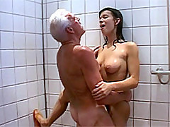 Horny Latina Gets Fucked and Facialized By an Old Man In The Shower