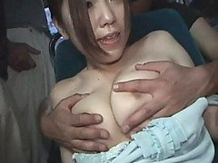 Business woman forced orgasm in a bus