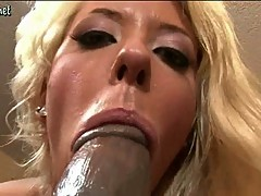 Blonde chick riding a black dick