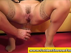 Kinky couple has pissing fun during fucksome