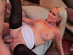 Stunning Sue Diamond gets her shaven pussy slammed