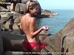 Horny Blonde Giving A Blowjob After Taking Off Her Bikini