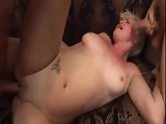 Dudes blowing loads in a short hair blonde