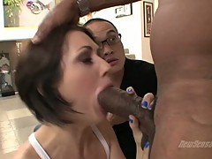 Sarah Shevon is irking an angry black cock to explode hot on her