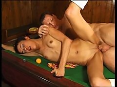 Short Haired Brunette Jessica Blake Gets A Hardcore Fuck On Top Of A Pool Table