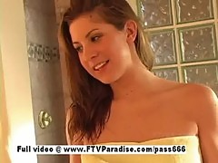 Innocent girl Lisa, cute redhead girl showering