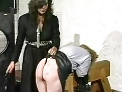 Horny slave in leather skirt got spanked on her nice ass by