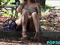 Brunette from outdoor fucked hard