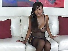 Big Boobed Black Babe in Stockings Sucks Cock