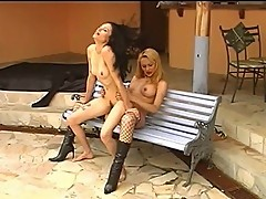 Kinky Blonde Shemale Fucks Hot Chick Outdoors